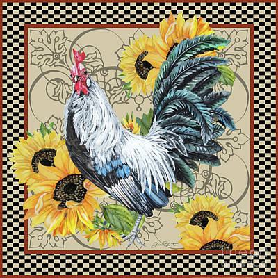Painting - Country Time Rooster-c by Jean Plout