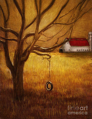 King Digital Art - Country Tire Swing by Linda King