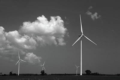 Photograph - Country Turbines Bw by Mary Bedy