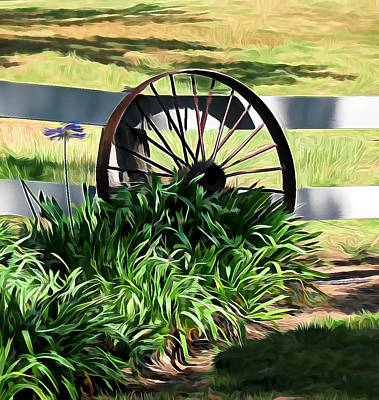 Mixed Media - Country Wagon Wheel by Pamela Walton