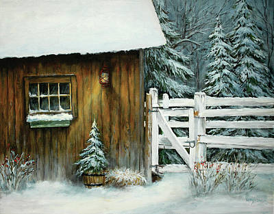Country Winter Night By The Barn Art Print