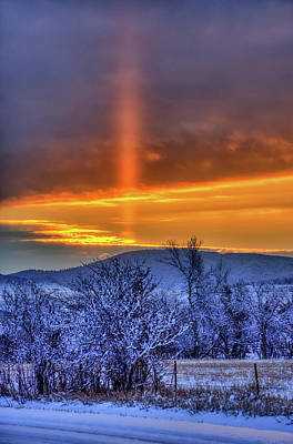 Photograph - Country Winter Sun Pillar by Fiskr Larsen