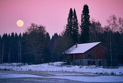 Photograph - Countryside Full Moon Scenery by Teemu Tretjakov