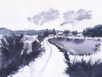 Painting - Countryside Winter Watercolor by Frank Bright