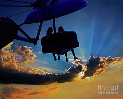 Photograph - County Fair Amusement Ride Sunset  by Tom Jelen