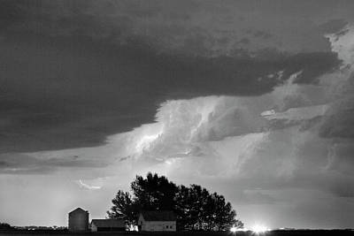 County Line Northern Colorado Lightning Storm Bw Art Print by James BO  Insogna