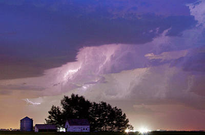 County Line Northern Colorado Lightning Storm Cropped Art Print