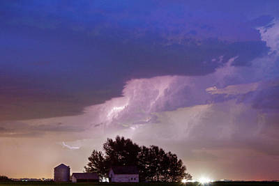 County Line Northern Colorado Lightning Storm Art Print