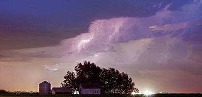 County Line Northern Colorado Lightning Storm Panorama Print by James BO  Insogna