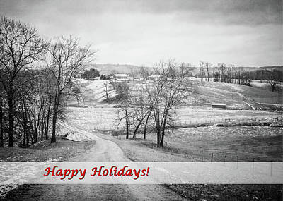 Photograph - County Road Happy Holidays - Black And White by Joni Eskridge