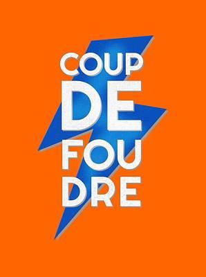 Coup De Foudre Blue Lightning Art Print