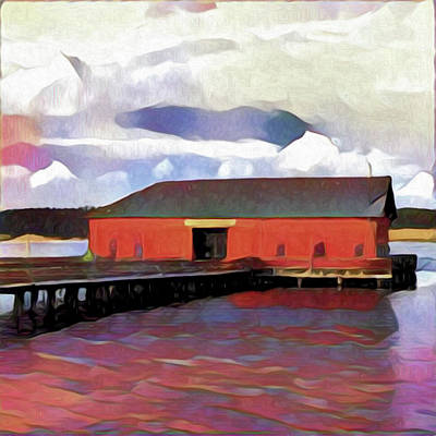 Northwest Digital Art - Coupeville Wharf Painterly Effect by Carol Leigh