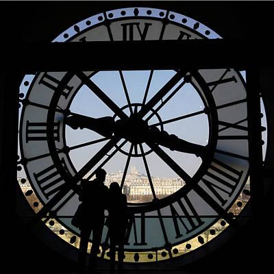 Photograph - Couple And Clock D'orsay Museum Paris by Lawrence S Richardson Jr