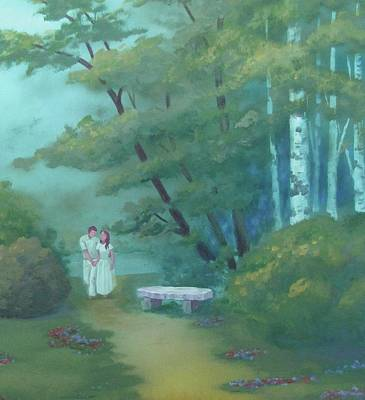 Painting - Couple And Stone Bench by Dominic Sanson