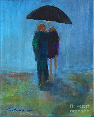 Painting - Couple At Beach Under Umbrella In Rain by Robin Maria Pedrero