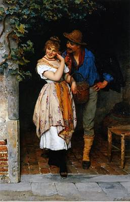 Couple Courting Art Print by Eugen von Blaas