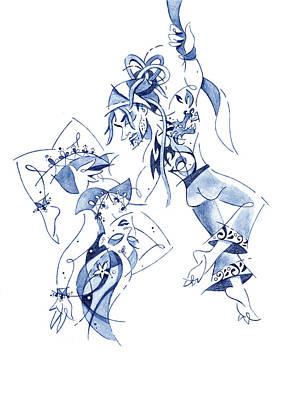 Drawing - Couple Dancing - Acrobatic Circus Show by Arte Venezia