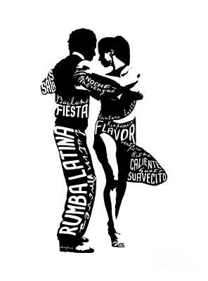 Digital Art - Couple Dancing Latin Music by Patricia Awapara