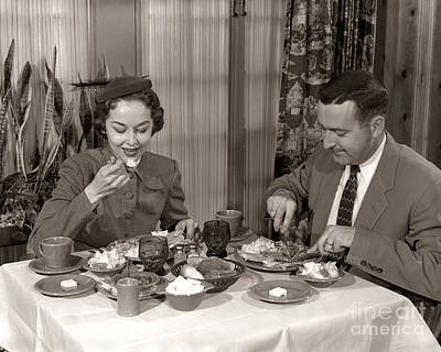 Photograph - Couple Dining In Restaurant, C.1950s by H. Armstrong Roberts/ClassicStock
