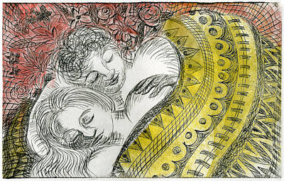 Bed Quilts Drawing - Couple Dreaming by Sheryl Karas