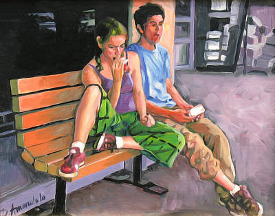 Couple Eating A Snack Print by Dominique Amendola