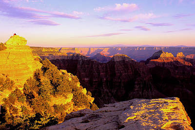 Couple Enjoys Grand Canyon Sunset Art Print by Alan Lenk