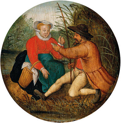 Painting - Couple Fishing by Pieter Brueghel the Younger