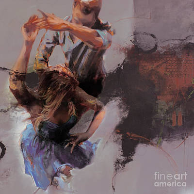Painting - Couple Flamenco Dance 045 by Gull G