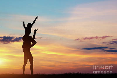 Photograph - Couple Having Happy Time Together At Sunset. by Michal Bednarek