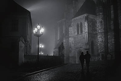 Photograph - Couple In Misty Night. Gothic Age. Black And White by Jenny Rainbow