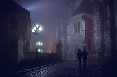Photograph - Couple In Misty Night. Gothic Age by Jenny Rainbow