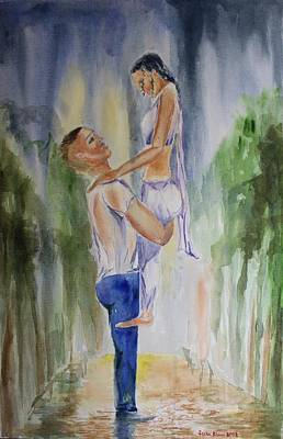 Painting - Couple In Rain by Geeta Biswas