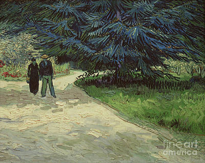February Painting - Couple In The Park by Vincent Van Gogh