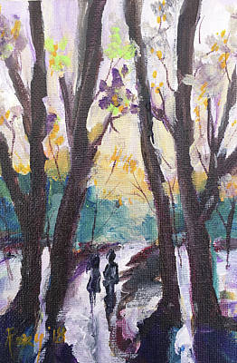 Landscapes Painting - Couple In The Woods by Roxy Rich