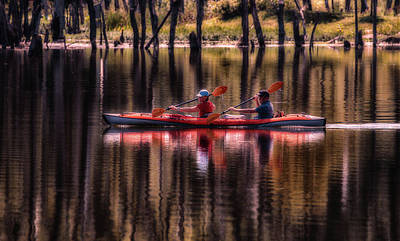 Photograph - Couple Kayaking  by Deb Buchanan