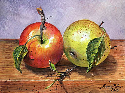 Apple Picking Painting - Couple Of Apples by Franco Puliti
