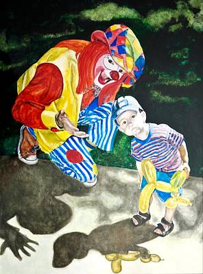 Couple Of Clowns Art Print by Lance Gebhardt