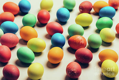 Photograph - Couple Of Colorful Eggs Laying On A Creamy Background. by Michal Bednarek
