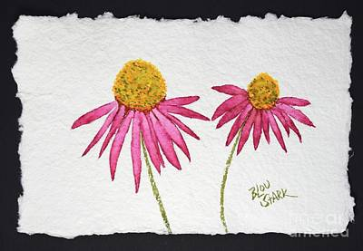 Painting - Couple Of Coneflowers 8.5x5.5 Watercolor On Textured Handmade Paper by Barrie Stark