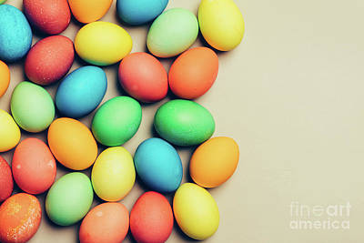 Photograph - Couple Of Dyed Eggs Laying On A Creamy Background. by Michal Bednarek