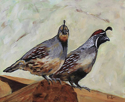 Painting - Couple Of Quails by Joan Frimberger