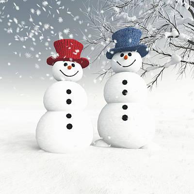 Digital Art - Couple Of Snowmen by Jan Keteleer