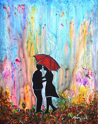 Painting - Couple On A Rainy Date Romantic Painting For Valentine by Manjiri Kanvinde