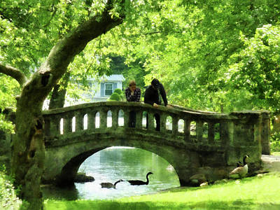 Photograph - Couple On Bridge In Park by Susan Savad