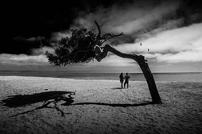 Art Print featuring the photograph Couple On Cabrillo Beach By Los Angeles California by Randall Nyhof