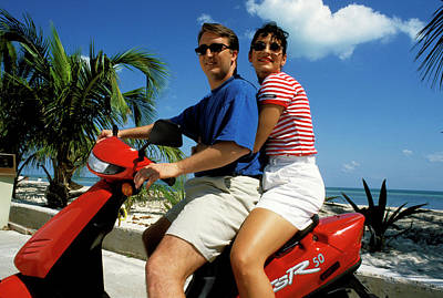 Photograph - Couple On Motor Scooter In Key West Florida by Carl Purcell