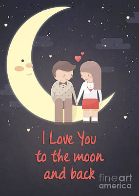 Digital Art - Couple On The Moon by JH Designs