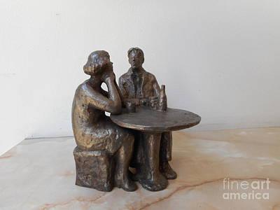 Bronze Sculpture - Couple On The Table by Nikola Litchkov