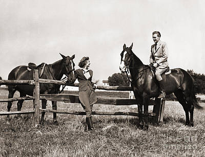 Photograph - Couple Out Riding, C.1930-40s by H Armstrong Roberts and ClassicStock