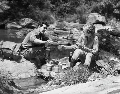 Photograph - Couple Picknicking Outdoors, C.1930s by H Armstrong Roberts ClassicStock